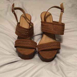 Brown high heel wedges